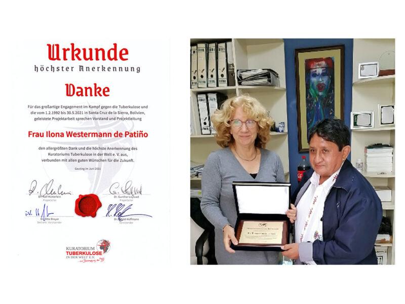 Foto von I. Patiño u. Dr. T. Gonzáles stellvertretend für das Personal